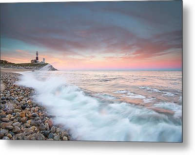 Waves Wash Over Cobbles In Front Metal Print