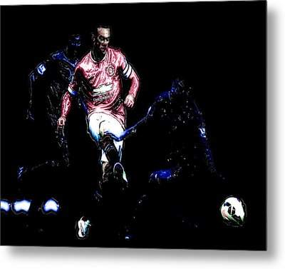 Wayne Rooney Working Magic Metal Print