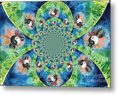 We Are All One Race Flower Kaleidoscope Mandela Metal Print