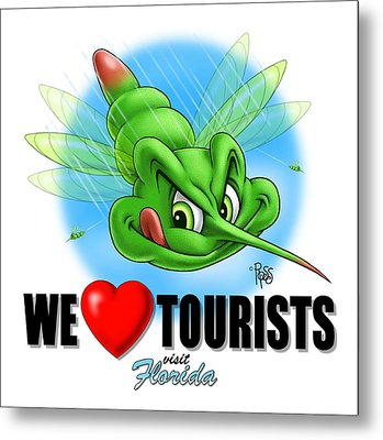Metal Print featuring the digital art We Love Tourists Mosquito by Scott Ross