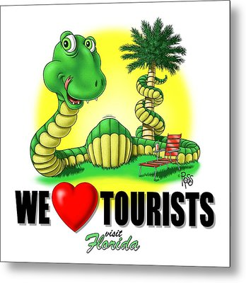 Metal Print featuring the digital art We Love Tourists Snake by Scott Ross