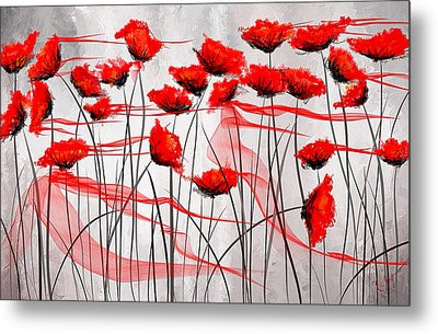We Remember- Red Poppies Impressionist Painting Metal Print