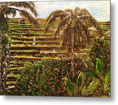 Metal Print featuring the painting We Work Hard For The Money by Belinda Low
