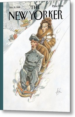 Wealthy Woman Rides A Sled With A Driver Metal Print by Peter de Seve