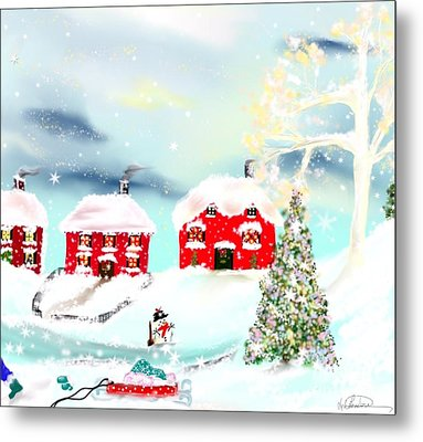 Metal Print featuring the painting Wear Those Hats And Mittens by Lori  Lovetere