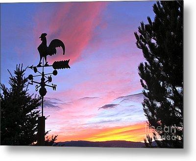 Weather Vane Sunset Metal Print by Phyllis Kaltenbach