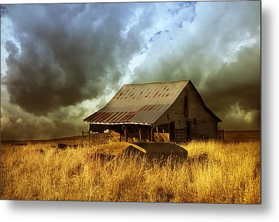 Weathered Barn  Stormy Sky Metal Print by Ann Powell