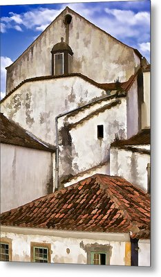 Weathered Buildings Of The Medieval Village Of Obidos Metal Print by David Letts