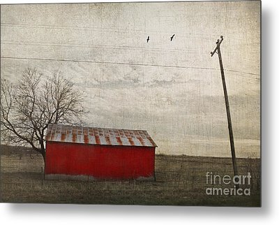 Weathered Red Barn Metal Print