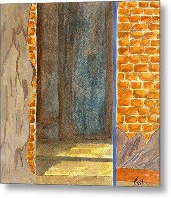 Weathered Wall With Doorway Metal Print by Bav Patel