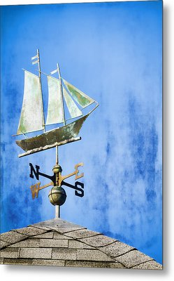 Weathervane Clipper Ship Metal Print by Carol Leigh