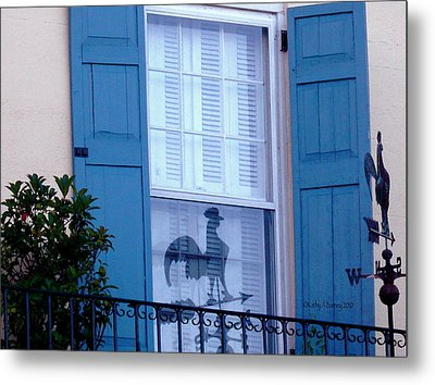 Metal Print featuring the photograph Charleston Weathervane Reflection by Kathy Barney