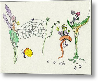 Metal Print featuring the painting Web Faeries by Helen Holden-Gladsky