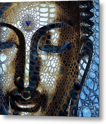 Web Of Dharma - Modern Blue Buddha Art Metal Print