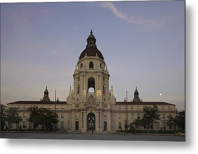 Metal Print featuring the photograph Wedding At Moonrise - Pasadena City Hall California by Ram Vasudev
