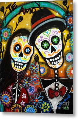 Metal Print featuring the painting Wedding Dia De Los Muertos by Pristine Cartera Turkus