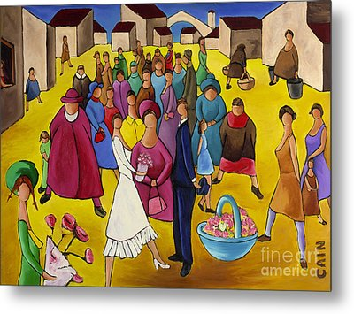 Wedding In Plaza Metal Print by William Cain
