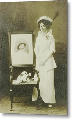 Wedding Portrait Of Beth, A Girl Who Married The Glove Metal Print