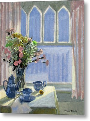 Wedgewood Blues - Flowers By The Window Metal Print by Bonnie Mason