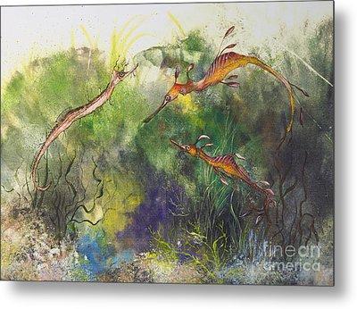 Weedy And Ribbon  Sea Dragons Metal Print by Nancy Gorr