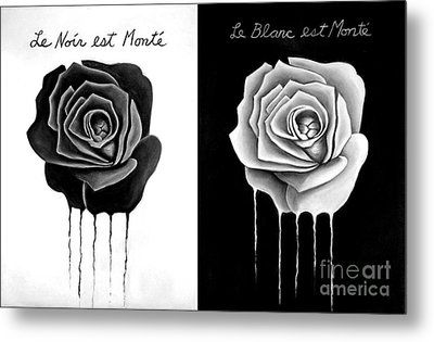Weeping Black And White Roses Metal Print by Darrell Ross