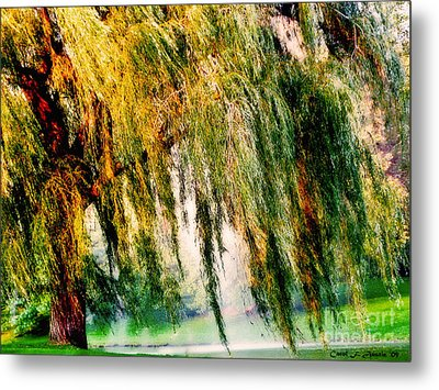 Weeping Willow Tree Painterly Monet Impressionist Dreams Metal Print by Carol F Austin