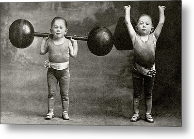 Weightlifting Dwarfism Exhibits Metal Print by American Philosophical Society