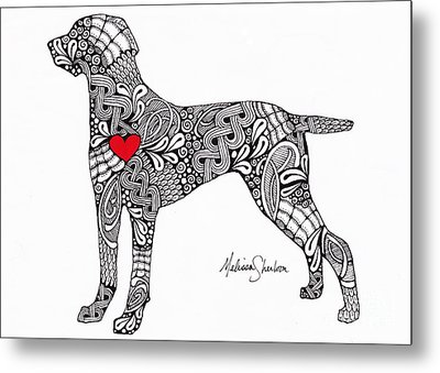 Metal Print featuring the drawing Weimaraner by Melissa Sherbon