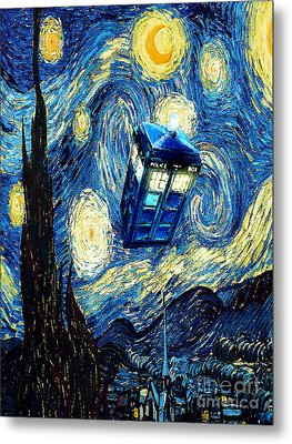 Weird Flying Phone Booth Starry The Night Metal Print