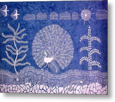 Welcome Monsoon- Warli Painting Landscape Painting Metal Print by Aboli Salunkhe