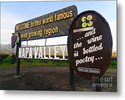 Welcome Sign To Napa Valley Metal Print by George Oze