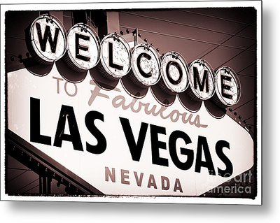 Welcome To Las Vegas Red Tone Metal Print by John Rizzuto
