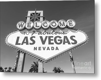 Welcome To Las Vegas Sign Black And White Metal Print by Aloha Art