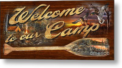 Welcome To Our Camp Sign Metal Print by Jim Hansel