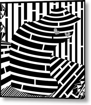 Welcome To The Cat Side Maze Metal Print by Yonatan Frimer Maze Artist