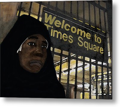 Welcome To Times Square Metal Print by Adam Metzner