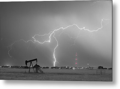 Weld County Dacona Oil Fields Lightning Thunderstorm Bwsc Metal Print by James BO  Insogna