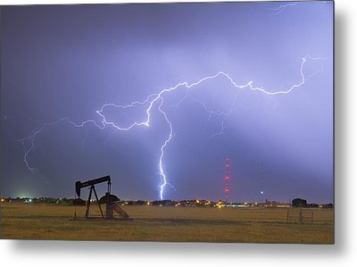 Weld County Dacona Oil Fields Lightning Thunderstorm Metal Print