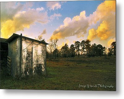 Old Well House And Golden Clouds Metal Print by ARTography by Pamela Smale Williams