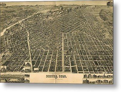 Wellge's Birdseye Map Of Denver Colorado - 1889 Metal Print by Eric Glaser
