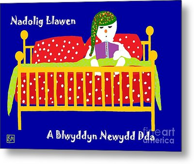 Metal Print featuring the digital art Welsh Snowman Bedtime  by Barbara Moignard