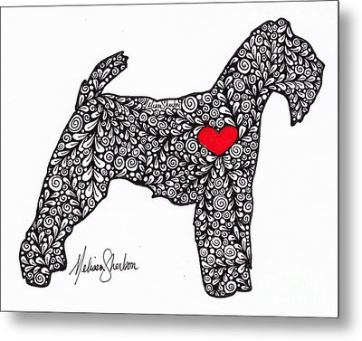 Metal Print featuring the drawing Welsh Terrier by Melissa Sherbon