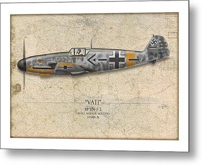 Werner Molders Messerschmitt Bf-109 - Map Background Metal Print by Craig Tinder