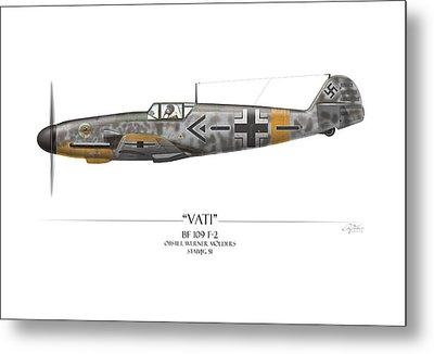 Werner Molders Messerschmitt Bf-109 - White Background Metal Print by Craig Tinder