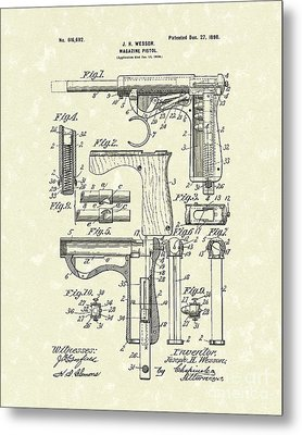 Wesson Pistol 1898 Patent Art Metal Print by Prior Art Design