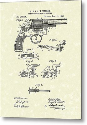 Wesson Revolver 1896 Patent Art Metal Print by Prior Art Design
