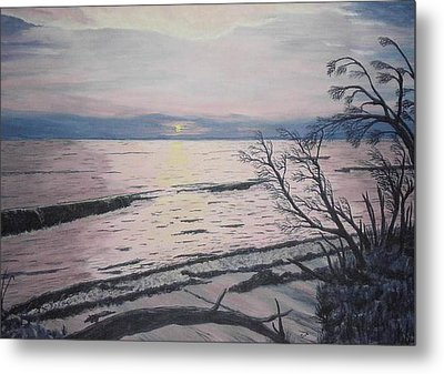 Metal Print featuring the painting West Coast Sunset by Hilda and Jose Garrancho