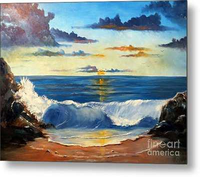 Metal Print featuring the painting West Coast Sunset by Lee Piper