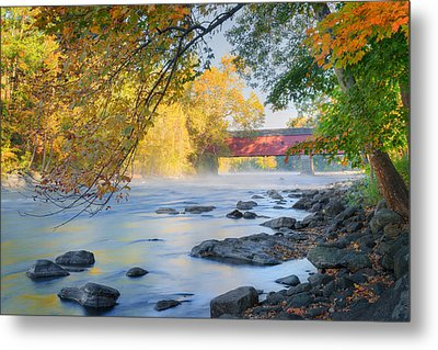 Metal Print featuring the photograph West Cornwall Covered Bridge Autumn by Bill Wakeley