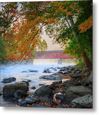 West Cornwall Covered Bridge Autumn Square Metal Print by Bill Wakeley